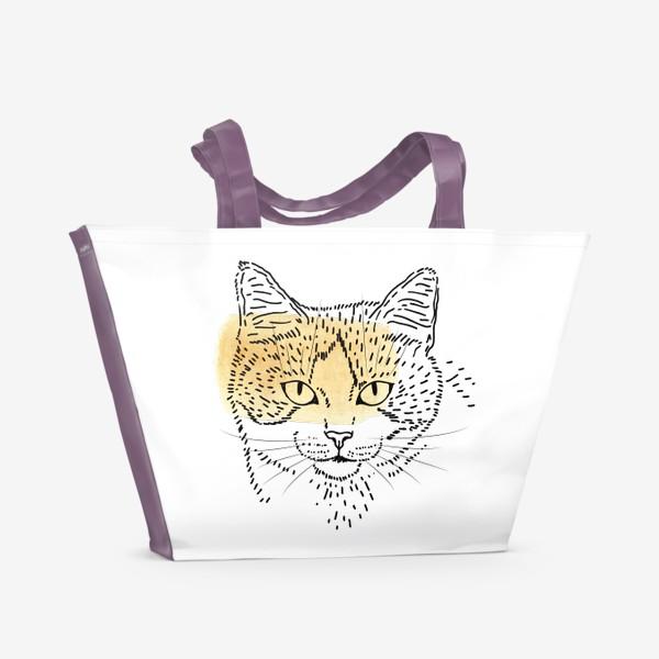 Пляжная сумка «Акварельная кошка. Бежевая акварель»