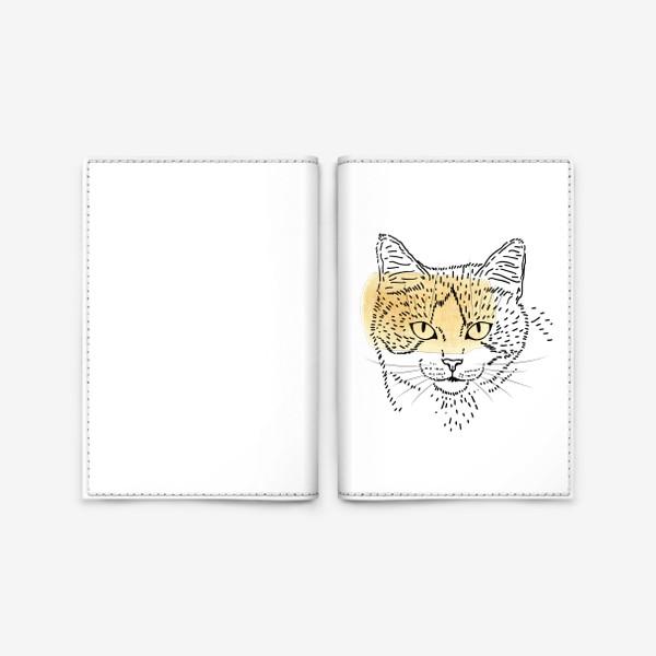 Обложка для паспорта «Акварельная кошка. Бежевая акварель»