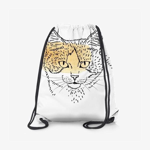 Рюкзак «Акварельная кошка. Бежевая акварель»