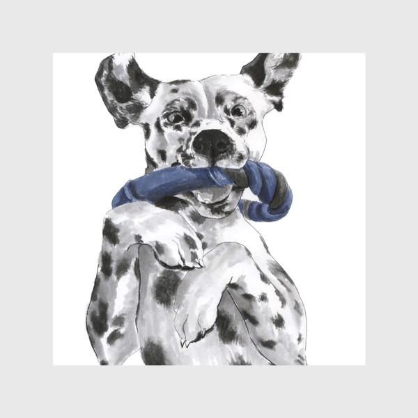 Скатерть «Портрет собаки породы далматинец с игрушкой»
