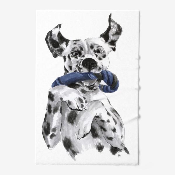 Полотенце «Портрет собаки породы далматинец с игрушкой»