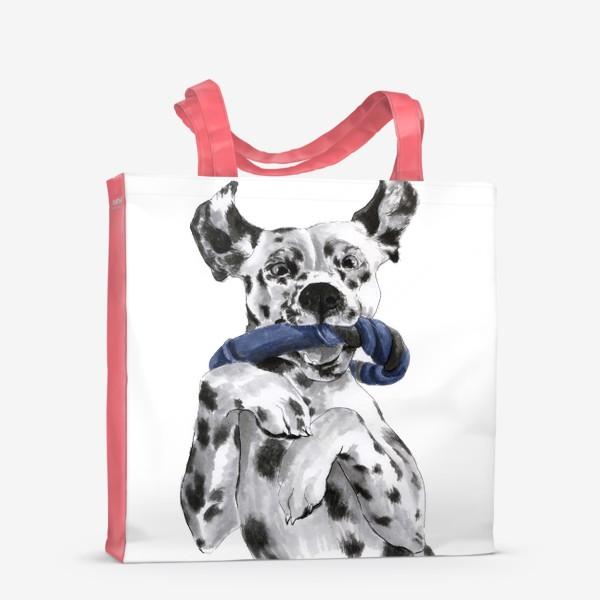 Сумка-шоппер «Портрет собаки породы далматинец с игрушкой»