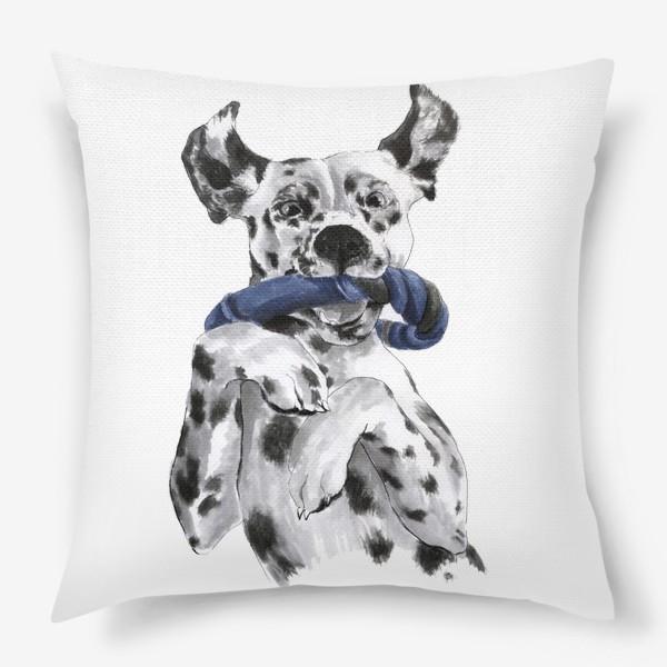Подушка «Портрет собаки породы далматинец с игрушкой»