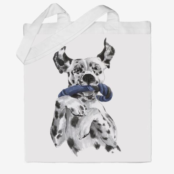 Сумка хб «Портрет собаки породы далматинец с игрушкой»