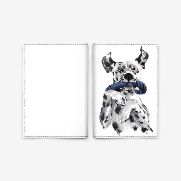 Обложка для паспорта «Портрет собаки породы далматинец с игрушкой»