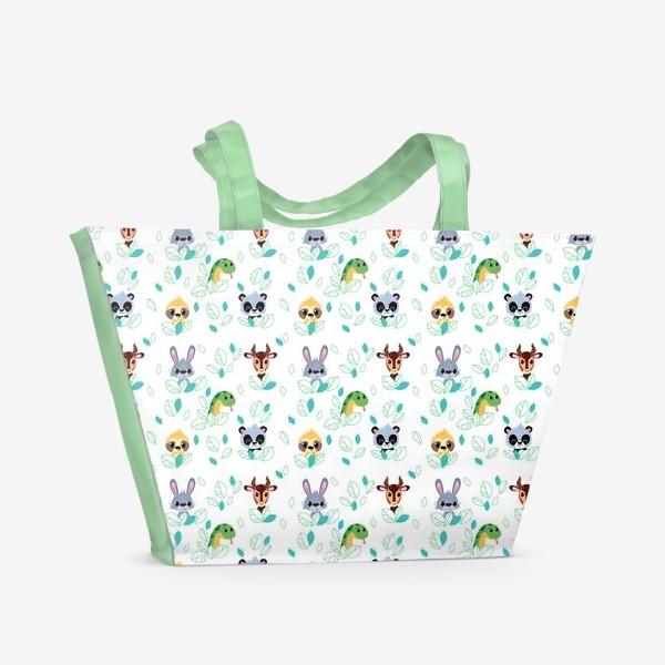 Пляжная сумка «Бесшовный паттерн. Мультяшные Зайцы, Газели, змеи и ленивцы.»