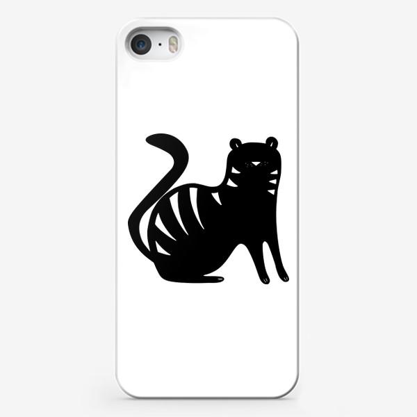 Чехол iPhone «Тигр. Новый год 2022. Амурский тигр. Минималистичный дизайн. Стильный черно-белый принт. Для мальчиков и мужчин. Полоски»