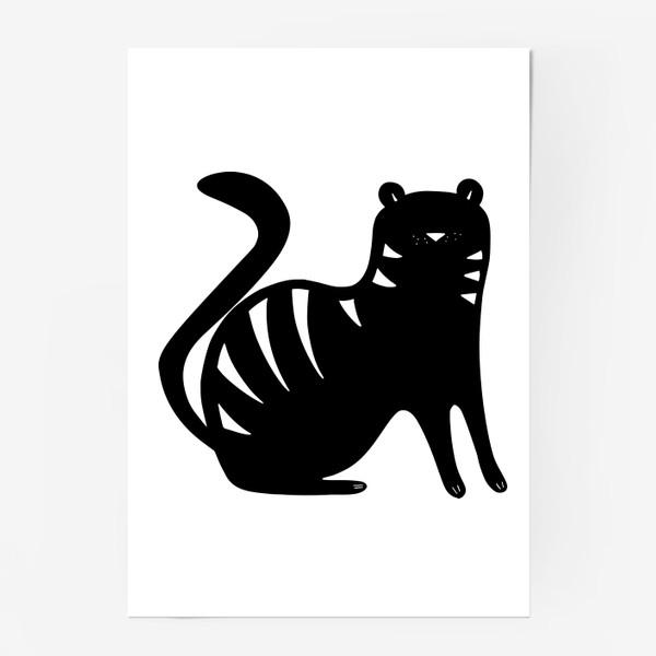 Постер «Тигр. Новый год 2022. Амурский тигр. Минималистичный дизайн. Стильный черно-белый принт. Для мальчиков и мужчин. Полоски»