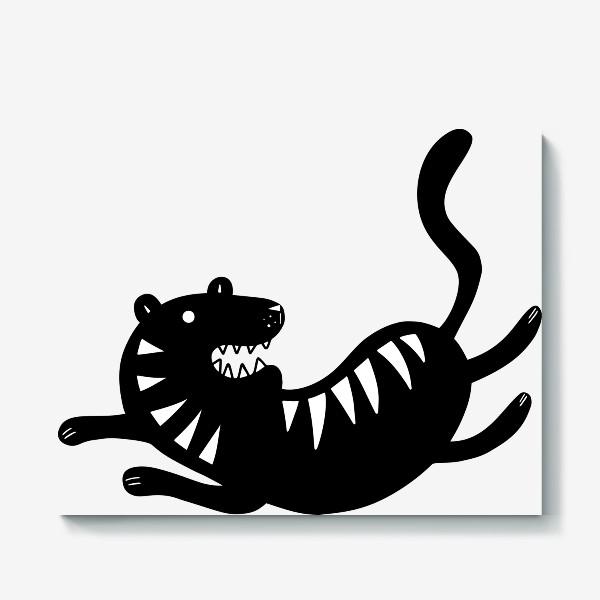 Холст «Тигр. Новый год 2022. Амурский тигр. Минималистичный дизайн. Стильный черно-белый принт. Для мальчиков и мужчин. Полоски»