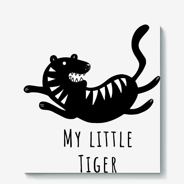 Холст «Милый тигр. Тигренок. Новый год тигра 2022. Минималистичный дизайн для ребенка, для мальчика. Маленький тигр. Полоски»