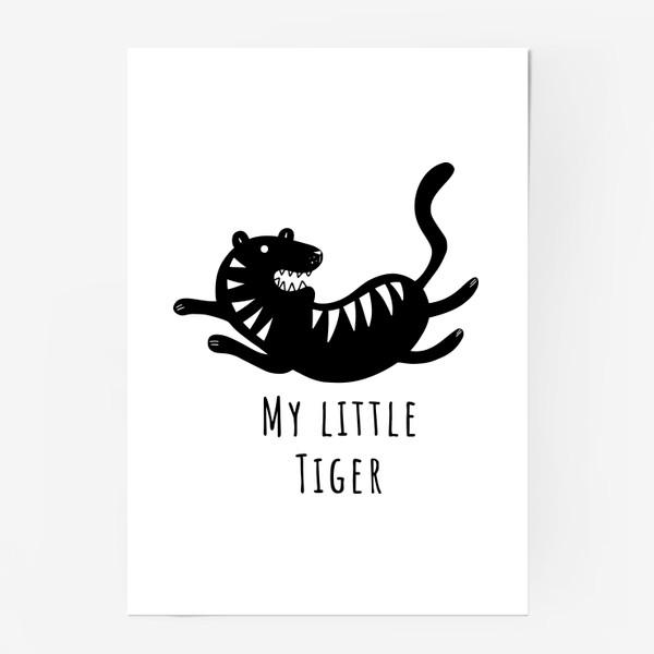 Постер «Милый тигр. Тигренок. Новый год тигра 2022. Минималистичный дизайн для ребенка, для мальчика. Маленький тигр. Полоски»