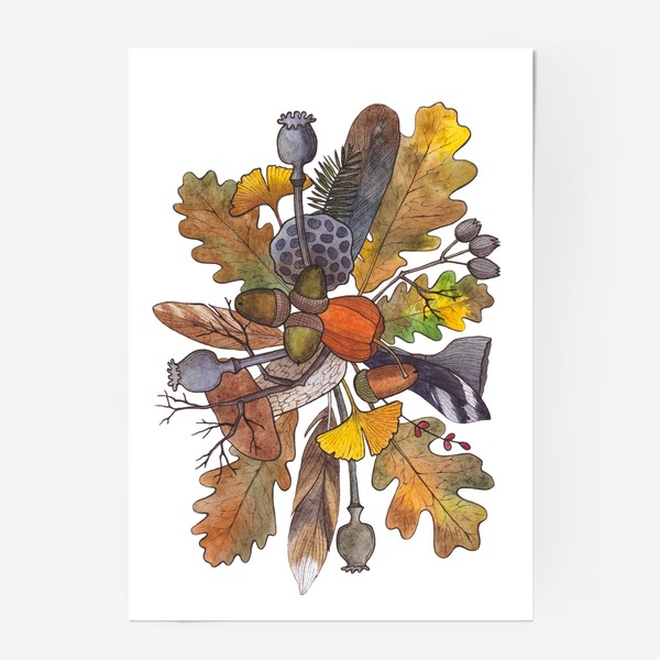 Постер «Осень. Листья. Грибы»