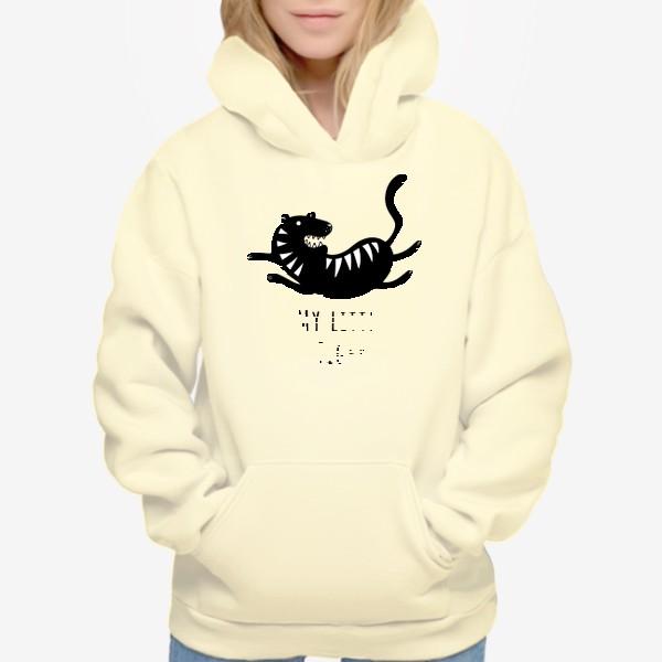 Худи «Милый тигр. Тигренок. Новый год тигра 2022. Минималистичный дизайн для ребенка, для мальчика. Маленький тигр. Полоски»