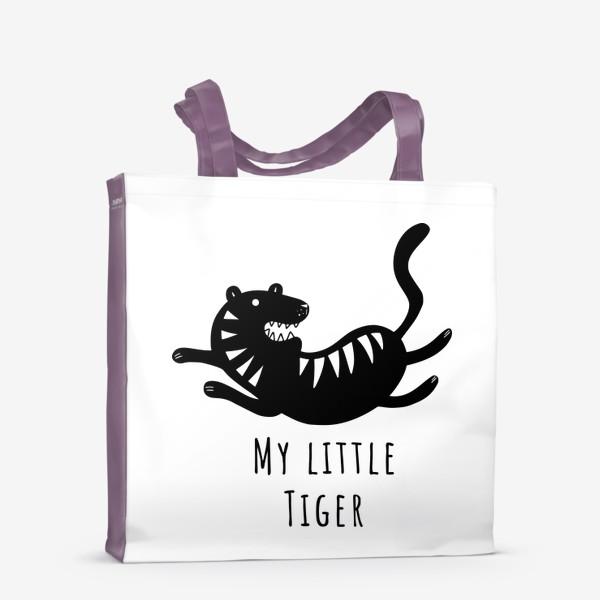 Сумка-шоппер «Милый тигр. Тигренок. Новый год тигра 2022. Минималистичный дизайн для ребенка, для мальчика. Маленький тигр. Полоски»