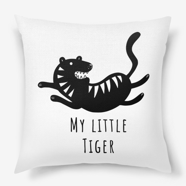 Подушка «Милый тигр. Тигренок. Новый год тигра 2022. Минималистичный дизайн для ребенка, для мальчика. Маленький тигр. Полоски»