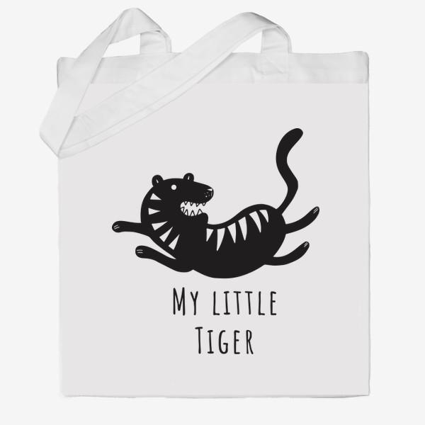 Сумка хб «Милый тигр. Тигренок. Новый год тигра 2022. Минималистичный дизайн для ребенка, для мальчика. Маленький тигр. Полоски»