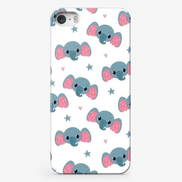 Чехол iPhone «Бесшовный паттерн. слонята»