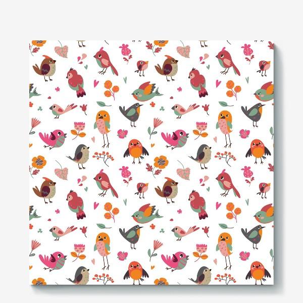 Холст «Бесшовный паттерн. Милые птички и цветы»
