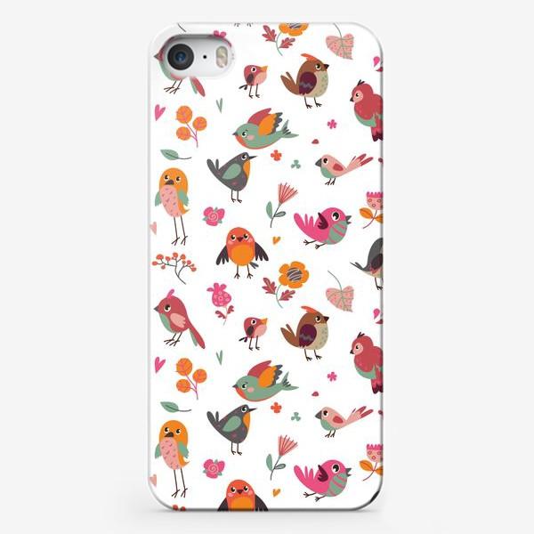 Чехол iPhone «Бесшовный паттерн. Милые птички и цветы»
