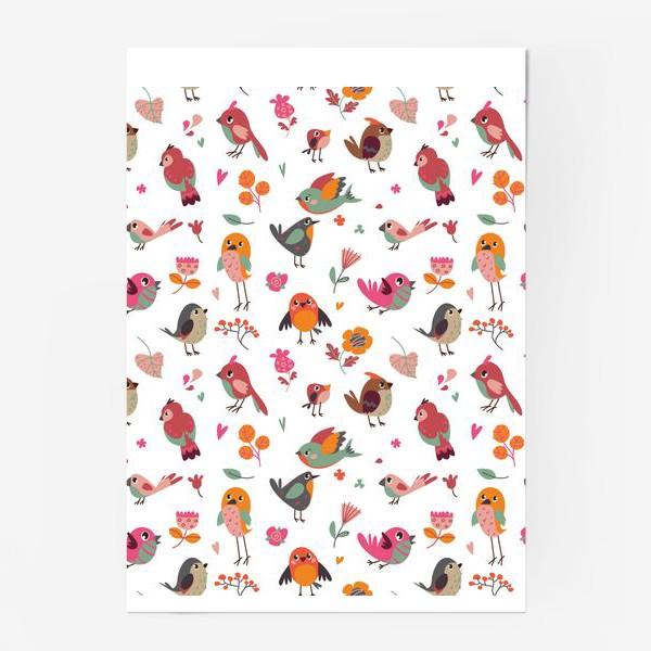 Постер «Бесшовный паттерн. Милые птички и цветы»