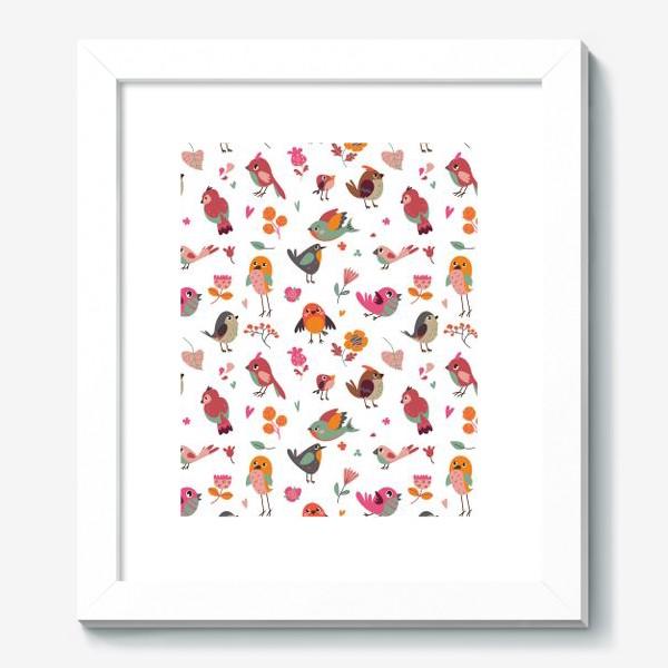 Картина «Бесшовный паттерн. Милые птички и цветы»