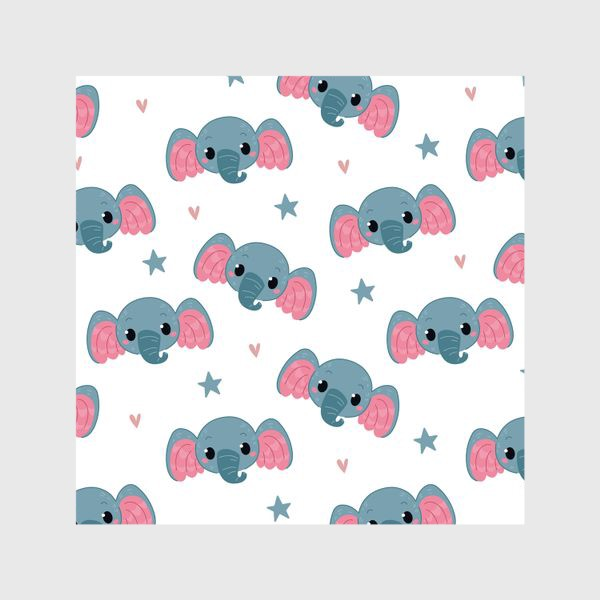 Шторы «Бесшовный паттерн. слонята»