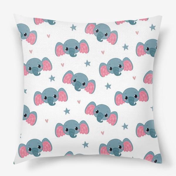Подушка «Бесшовный паттерн. слонята»