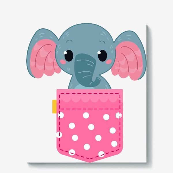 Холст «Розовый в горошек карман со слоном»