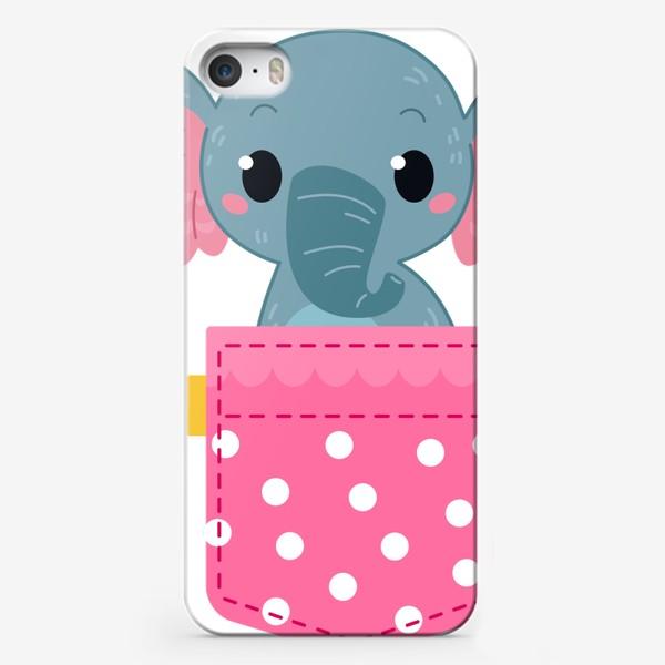 Чехол iPhone «Розовый в горошек карман со слоном»