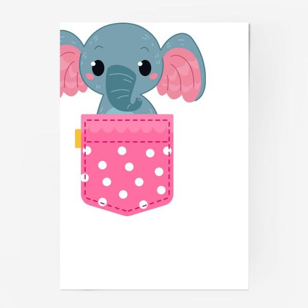 Постер «Розовый в горошек карман со слоном»