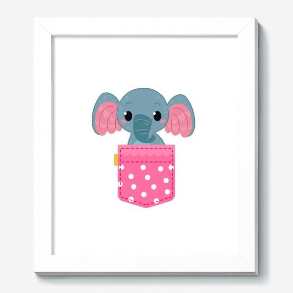 Картина «Розовый в горошек карман со слоном»