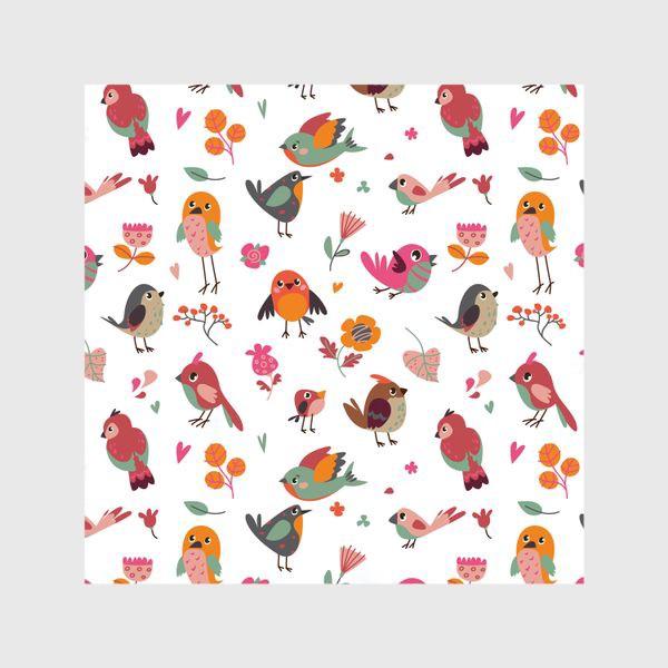 Шторы «Бесшовный паттерн. Милые птички и цветы»