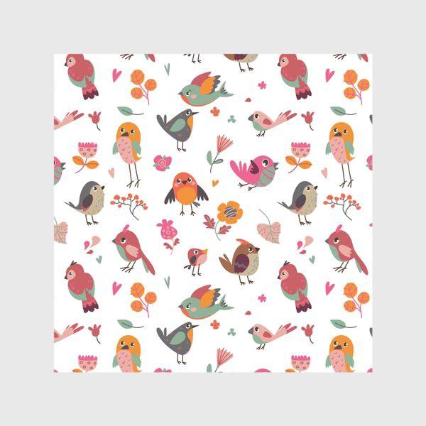 Скатерть «Бесшовный паттерн. Милые птички и цветы»