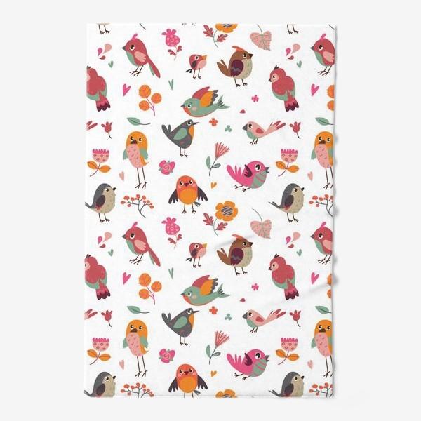 Полотенце «Бесшовный паттерн. Милые птички и цветы»