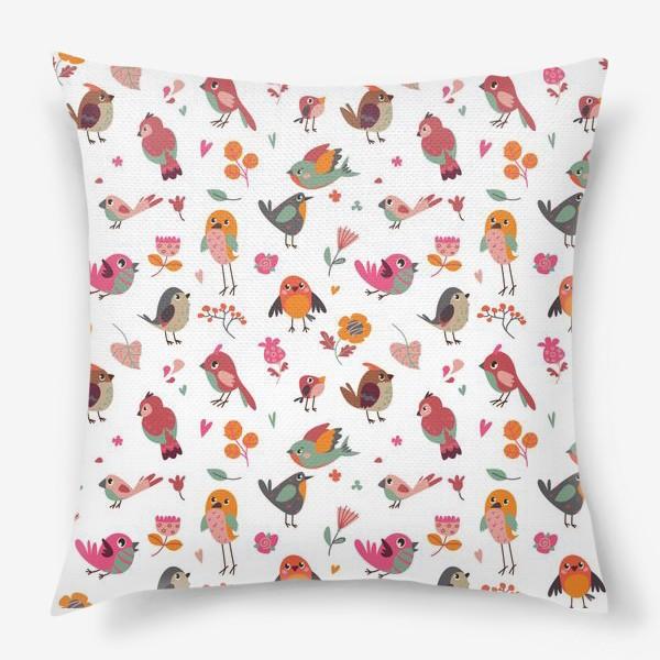 Подушка «Бесшовный паттерн. Милые птички и цветы»