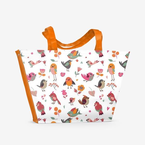 Пляжная сумка «Бесшовный паттерн. Милые птички и цветы»