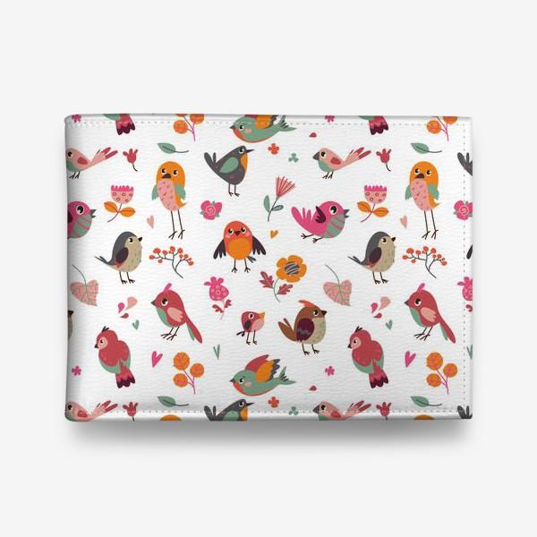 Кошелек «Бесшовный паттерн. Милые птички и цветы»