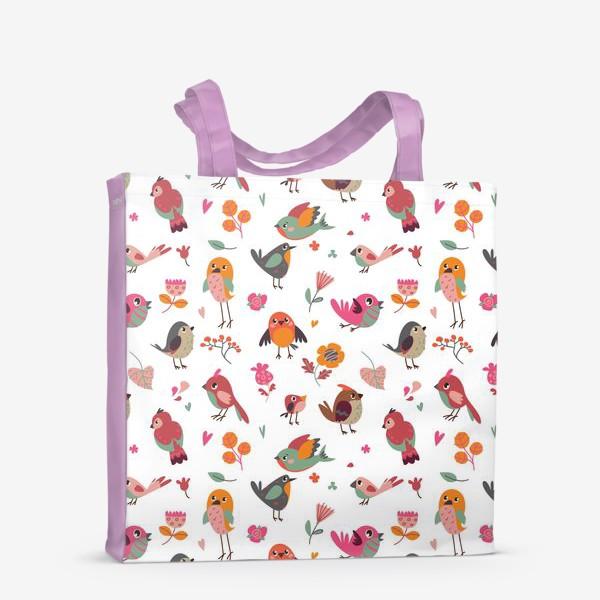 Сумка-шоппер «Бесшовный паттерн. Милые птички и цветы»