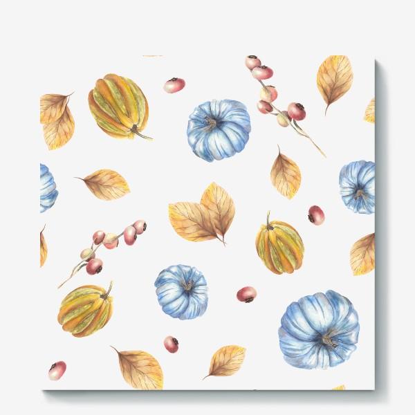 Холст «Тыквы и осенние листья»