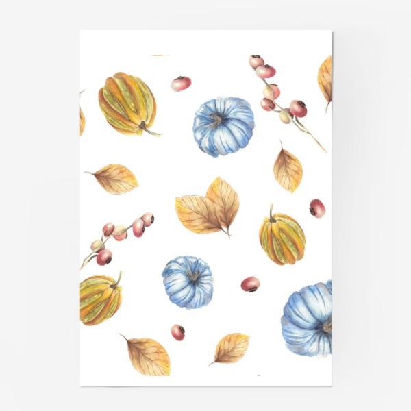Постер «Тыквы и осенние листья»