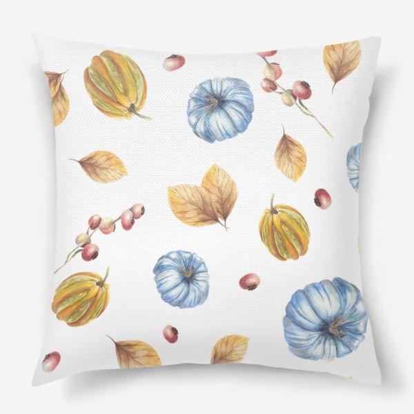 Подушка «Тыквы и осенние листья»