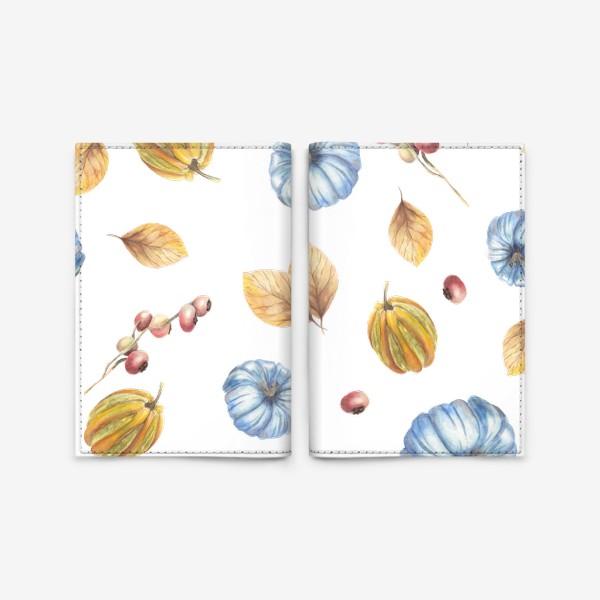 Обложка для паспорта «Тыквы и осенние листья»