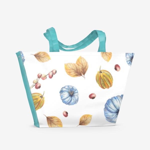 Пляжная сумка «Тыквы и осенние листья»