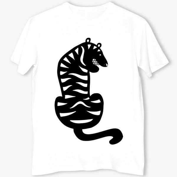 Футболка «Тигр. Новый год 2022. Амурский тигр. Минималистичный дизайн. Стильный черно-белый принт. Для мальчиков и мужчин. Полоски»