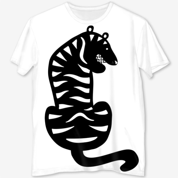 Футболка с полной запечаткой «Тигр. Новый год 2022. Амурский тигр. Минималистичный дизайн. Стильный черно-белый принт. Для мальчиков и мужчин. Полоски»