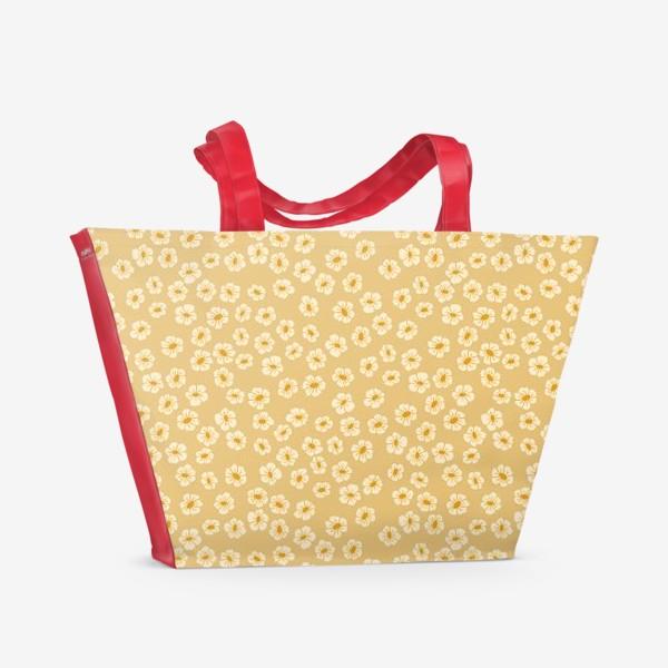 Пляжная сумка «Мелкие цветы на бежевом »