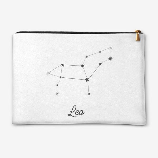 Косметичка «Лев. Знак зодиака, созвездие, минимализм»