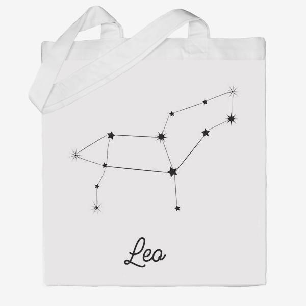 Сумка хб «Лев. Знак зодиака, созвездие, минимализм»