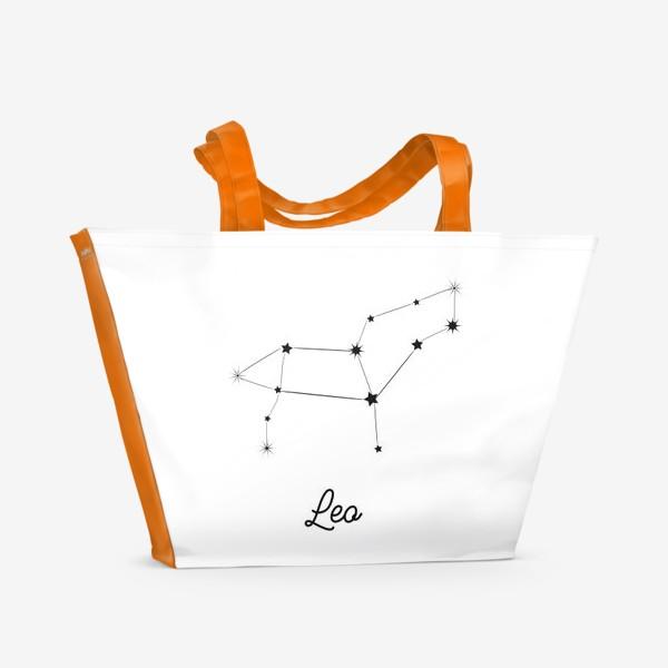 Пляжная сумка «Лев. Знак зодиака, созвездие, минимализм»