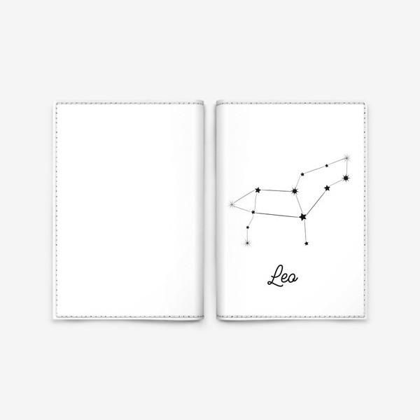Обложка для паспорта «Лев. Знак зодиака, созвездие, минимализм»